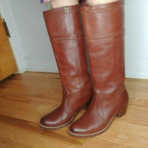 Frye Jane Tall Boots Redwood Brown Leather Cowboy